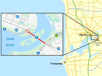 The Causeway - Map of Perth with the Causeway highlighted in red