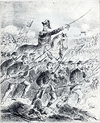 Drawing depicting a mounted figure in bicorne hat with raised sword leading charging foot soldiers holding rifles with bayonettes fixed