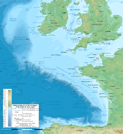 Celtic Sea and Bay of Biscay bathymetric map-fr.svg