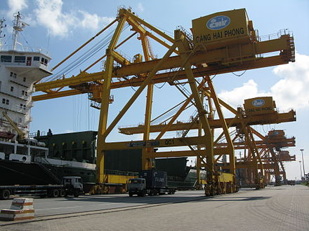 Port of Hai Phong is one of the largest and busiest container ports in Vietnam. Chua Ve Terminal, Port of Hai Phong.JPG