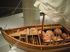 model reconstituting a Roman boat of coastal t...