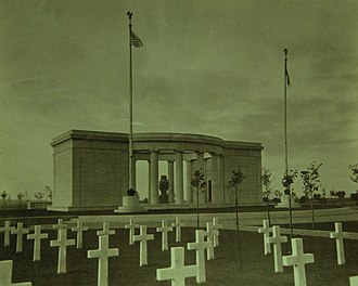 St. Mihiel American Cemetery and Memorial - The memorial with peristyle in center and flanking chapel and museum, 1923