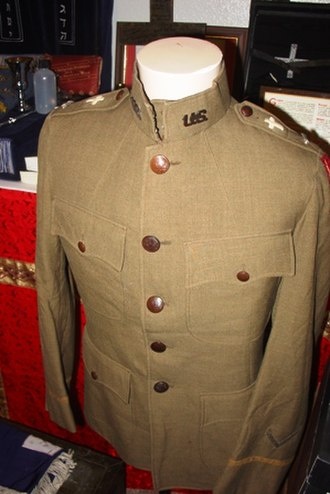 Religious symbolism in the United States military - WWI Army uniform coat with Christian Chaplain insignia