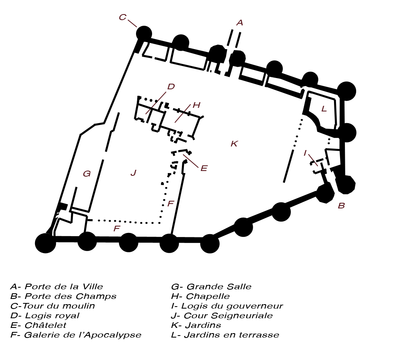 Key: A: gate to the medieval town; B: south gate; C: Tour de moulin; D: royal lodgings; E: chatelet (a type of gatehuose); F: gallery of the Apocalypse Tapestry; G: great hall; H: chapel; I: governor's lodgings; J: inner court; K: gardens; L: terraced gardens