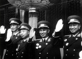 Chen Geng - Chen Geng with Su Yu and other generals on Tiananmen Square