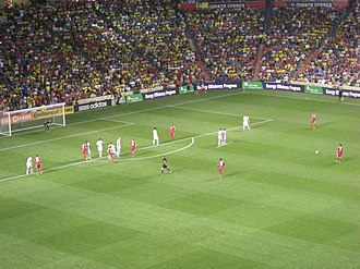 Vanishing spray - Vanishing spray in use during a 2013 friendly between the Chicago Fire and Club América