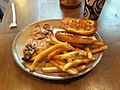 Chicken, french fries, and bread for lunch, Nando's restaurant, Rosslyn, Arlington, Virginia.jpg