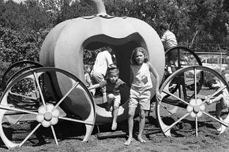 William Land Park - Children leaving a pumpkin ride in Fairytale Town, 1963