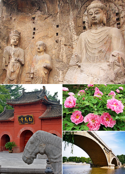 Top: Longmen Grottoes, Bottom left: White Horse Temple, Bottom right: Paeonia suffruticosa in Luoyang and Longmen Bridge
