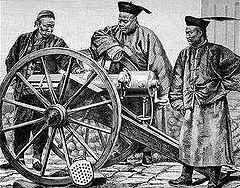 Des officiers de l'arme de l' empire qing étudiant une mitrailleuse