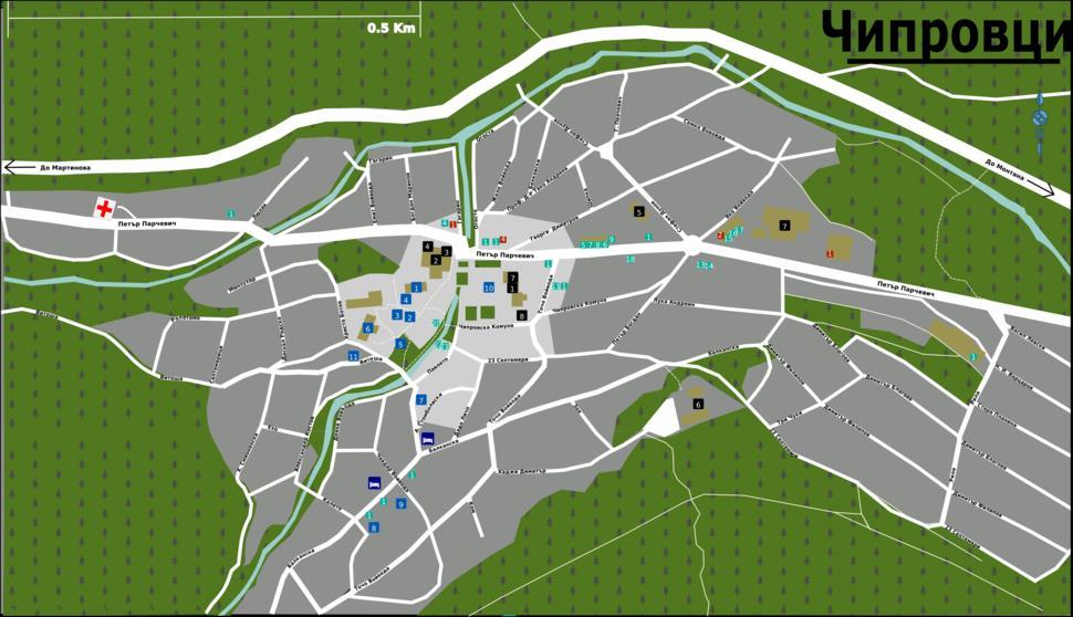 Chiprovtsi Bulgaria Street Map