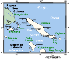 Choiseul and neighbouring islands (Taro not shown)