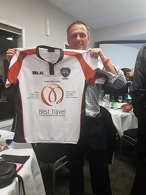 Chris Pollock - Chris Pollock receiving a commemorative jersey from the Hawke's Bay Rugby Referees Association