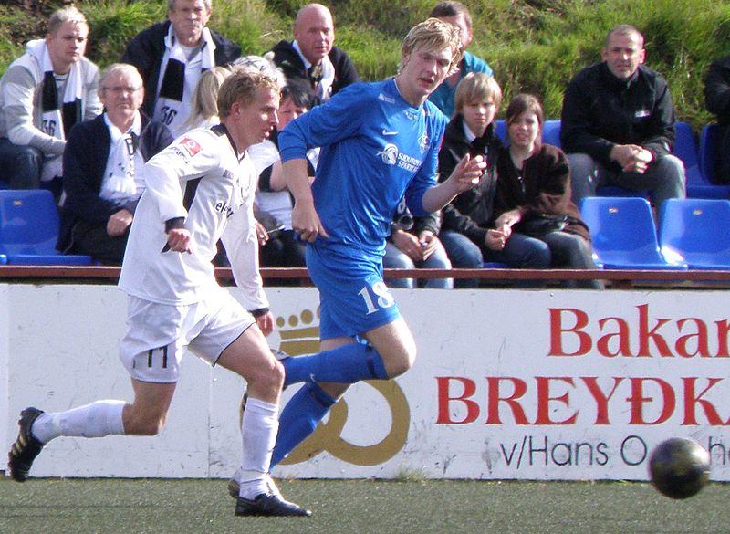 File:Christian Restorff Mouritsen, B36 player and Brandur Suðuroy, FC Suðuroy player.jpg