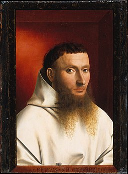 Petrus Christus's 1446 painting Portrait of a Carthusian has a fly painted on a trompe l'oeil frame. Christus carthusian.jpg