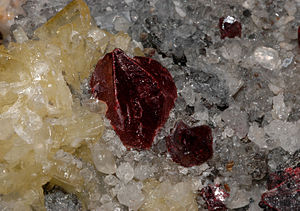 Chinese alchemy - Crystals of cinnabar, crystals of barite, crystals of quartz, crystals of calcite : Wanshan Mine, Wanshan District, Tongren Prefecture, Guizhou Province, China, an example of material historically associated with Chinese alchemy