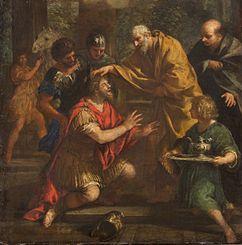 Ananias of Damascus lays his hand on Saul