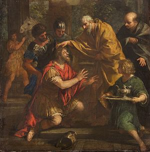 Ananias of Damascus lays his hand on Saul