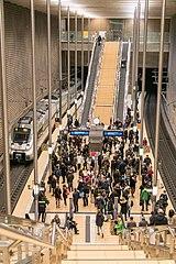 City-Tunnel Station Markt mit normalem Fahrgastbetrieb