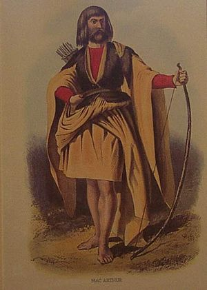 Clan Arthur - Mac Arthur by Robert Ronald McIan, from Logan's Highland Clans (1845).
