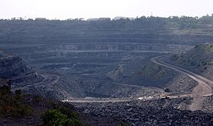 Environmental impact of the coal industry - A coal surface mining site in Bihar, India