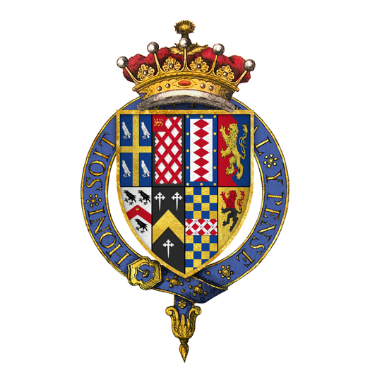 Quartered arms of Thomas Wriothesley, 4th Earl of Southampton, KG, as displayed on his Order of the Garter stall plate in St. George's chapel Coat of arms of Thomas Wriothesley, 4th Earl of Southampton, KG.png