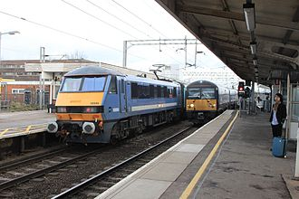 Colchester railway station - Two trains at Colchester station