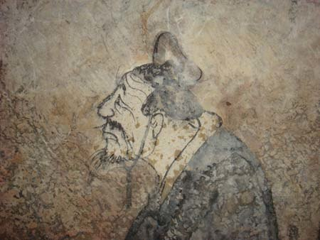 Confucius, fresco from a Western Han tomb of Dongping County, Shandong province, China