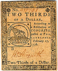 Continental Currency two-third dollar banknote obverse (February 17, 1776).jpg