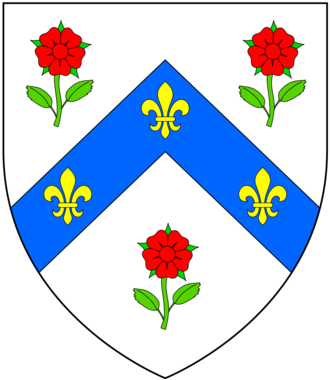 Walter Cope - Arms of Cope of Hanwell: Argent, on a chevron azure between 3 roses gules slipped proper 3 fleurs-de-lys or