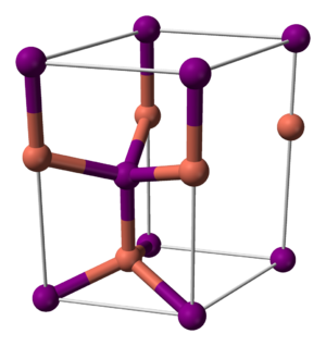 Copper(I) iodide - Image: Copper(I) iodide (beta) unit cell 3D balls