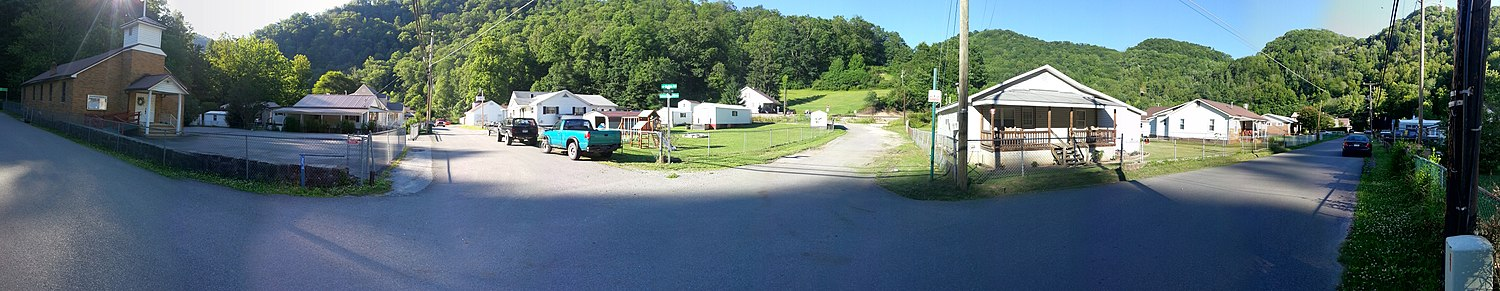 A panorama of Corinne, West Virginia, during summer