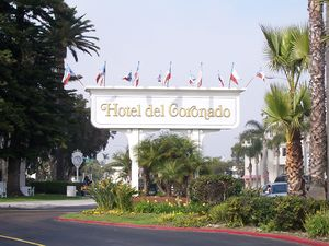 The entrance sign for the Hotel del Coronado i...