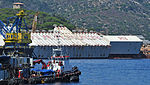 Costa Concordia shipwreck with Caissons - Isola del Giglio - Tuscan Archipelago, Italy - 18 Aug. 2013.jpg