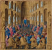 Colored painting showing a large congregation of bishops listening to the Pope
