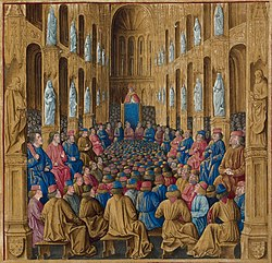 Pope Urban II at the Council of Clermont, where he preached an impassioned sermon to take back the Holy Land.