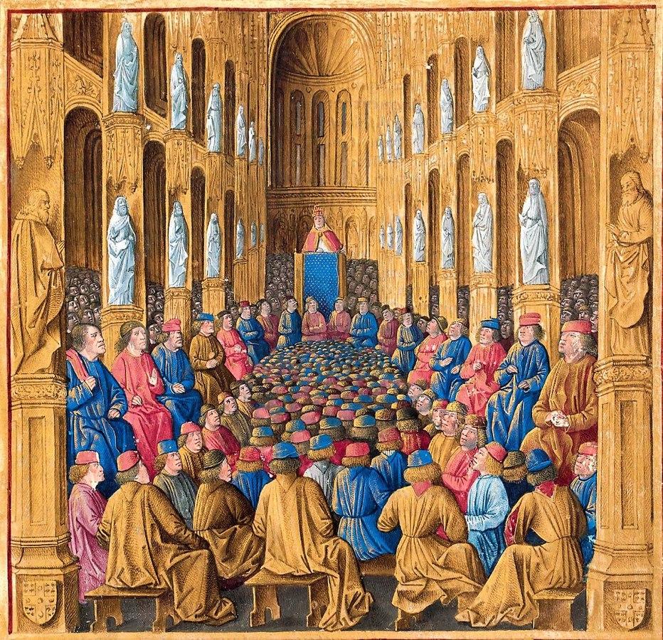 Prédica del papa Urbano II en el Concilio de Clermont. Ilustración de estilo gótico tardío, extraída del Livre des passages d'Outre-mer (hacia 1490), conservado en la Biblioteca Nacional de Francia.