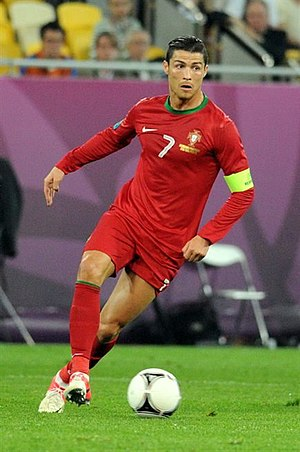 Squad number (association football) - Cristiano Ronaldo displaying his squad number (7), as portrayed on his Portugal national team jersey.