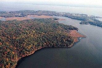 Potomac Creek - Accokeek Creek entering Potomac Creek; Potomac River in background