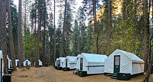 A set of tent cabins in Camp Curry in Yosemite Valley