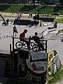 Cyclists waiting on the Ramp (4677890382).jpg