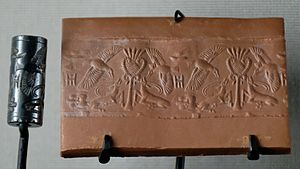 Engraved gem - Antelopes attacked by birds: cylinder seal in hematite and its impression. Late Bronze Age II (maybe 14th century BC), from Cyprus in the Minoan period, following Near Eastern precedents.