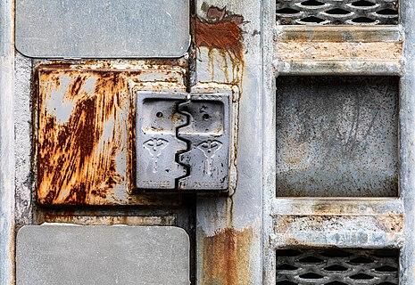 Door lock of Bunker 26 at the area of the US army at the special ammunition depot in the Dernekamp hamlet, Kirchspiel, Dülmen, North Rhine-Westphalia, Germany