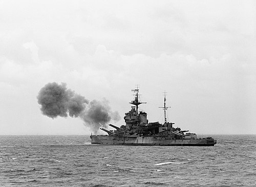 HMS Warspite bombarding German defensive positions off Normandy, 6 June 1944.