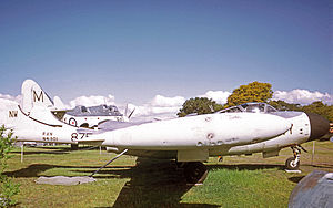724 Squadron RAN - De Havilland Sea Venom FAW.53 preserved in 724 Squadron markings in an aircraft museum in Melbourne in 1973