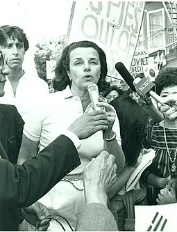 Feinstein speaks at a rally in San Francisco's Chinatown in the late 1970s with future husband Richard C. Blum (left). DIANNEFEINSTEIN.jpg