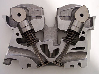 Overhead camshaft - A cylinder head sectioned to expose its valvetrain shows the cam-shaped lobes of two overhead camshafts, one above each of the two tappets located atop hollow-sectioned valves