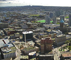 View of the Downtown Eastside and Woodward's site from Harbour Centre.