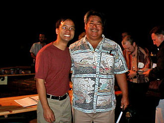 Daniel Ho - Daniel Ho (left) and George Kahumoku Jr. at the Slack Key Guitar Festival at Expo 2000 in Hannover, Germany