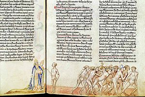Dante and Virgil interview the sodomites, from Guido da Pisa's commentary on the Commedia, c. 1345
